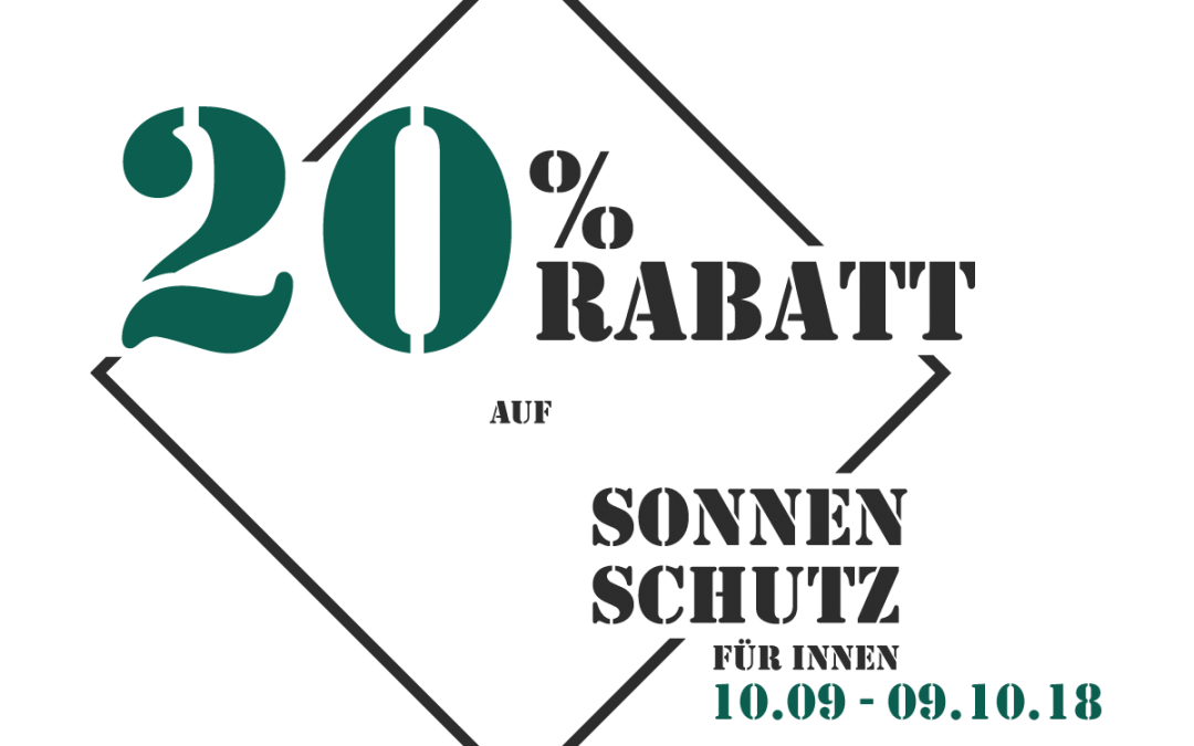 20% Rabatt auf Sonnenschutz